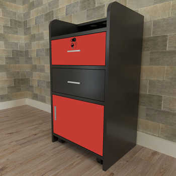 43 x 35 x 79cm 2 Pumping a Beauty Salon Side Table Black & Red wall - mounted salon beauty salon table