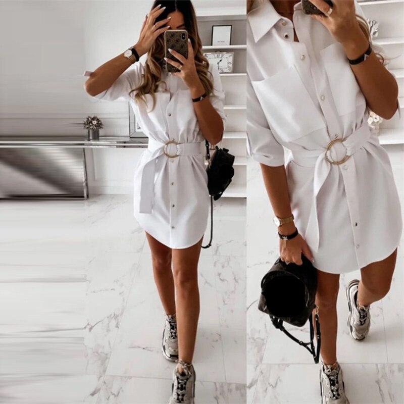 Shyloli Casual Pocket Sashes Straight Dress Women Half Sleeve Turn Down Collar Office Lady Shirt Dress 2020 Mini Summer Dress