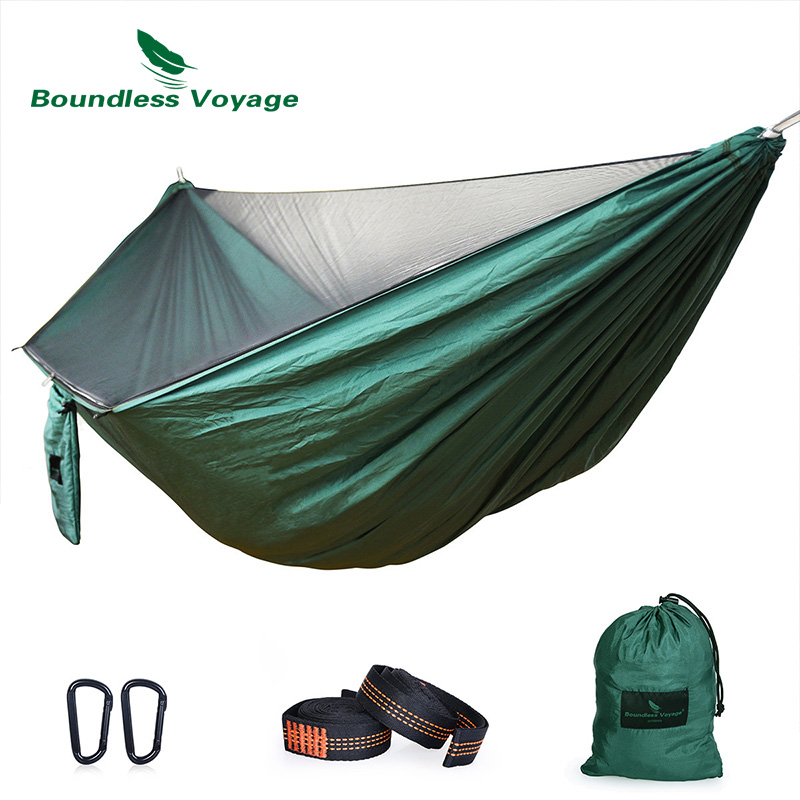 Boundless Voyage Ultralight Outdoor Camping Hammock with Mosquito Net 2 Person Hammock 200 KG Load Capacity with Hammock Straps