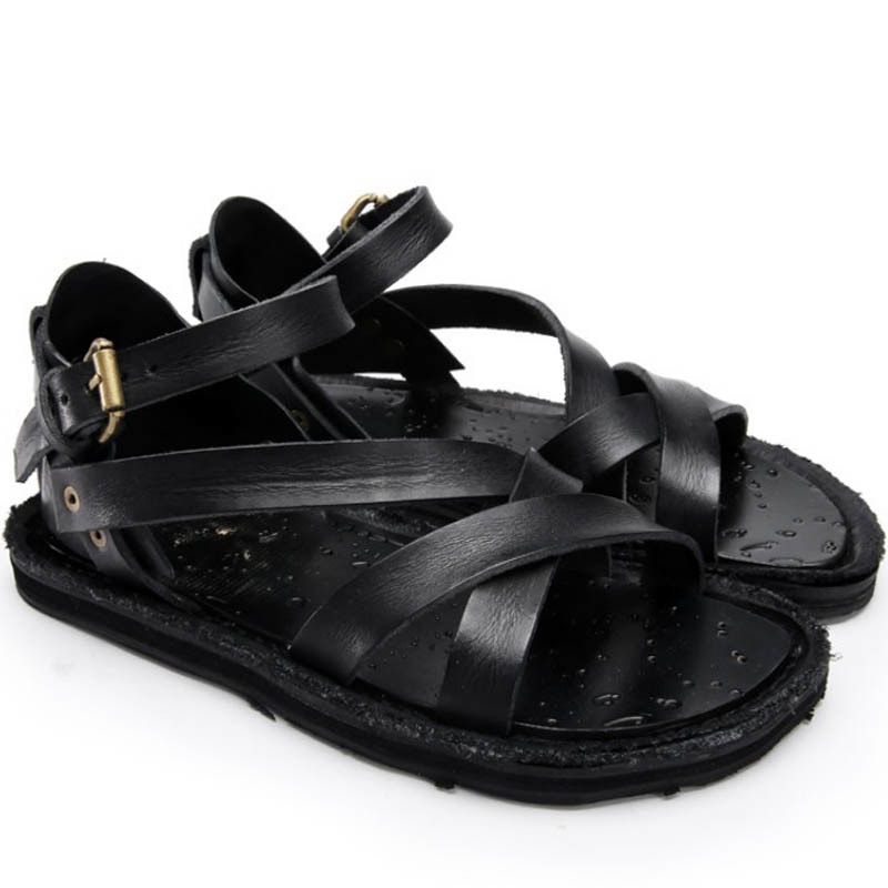 Summer Casual Buckle Strap Genuine Leather Sandals 2019 New Black Brown Retro Gladiator Outdoor Beach Sandals Slippers Footwear