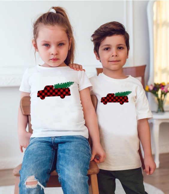 Buffalo Plaid Truck Leuke Print Kerst Familie Bijpassende T-shirt Baby Kind Mama en Papa Familie Look Kerst Tops Tee Shirts