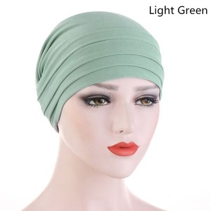 Image 2 - 2020 New Spring Candy Color Turban Cap Chemotherapy Headband Forehead Pile Hat Muslim Headscarf Women Hair Accessories