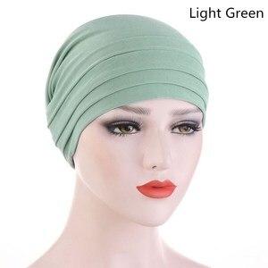 Image 2 - 2020 חדש אביב צבעים בוהקים טורבן כובע כימותרפיה סרט מצח ערימת כובע כיסוי ראש מוסלמי נשים שיער אבזרים