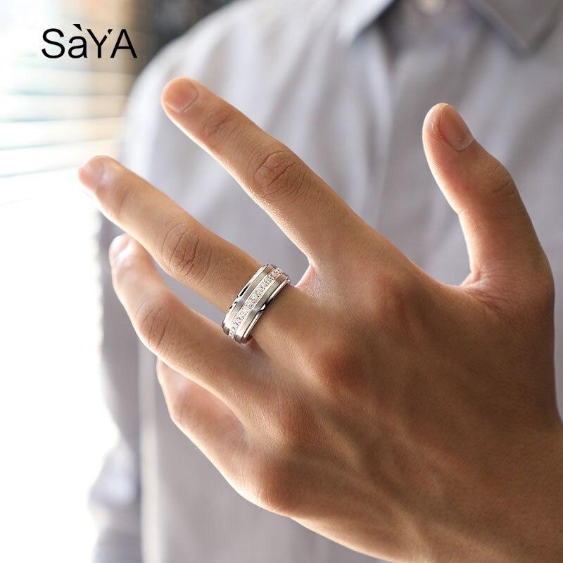 Bague pour hommes, anneaux en carbure de tungstène blanc de largeur 8mm, bijoux de mode avec des anneaux rotatifs de pierres CZ, personnalisés, livraison gratuite - 4