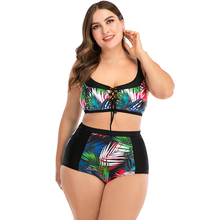 Lunamy 2020 New Coloful Leaves Printed Bikini Set Women Plus Size Bathing Suit High Waist Swimwear Two Piece Swimsuit Biquini plus size high waist printed bikini set