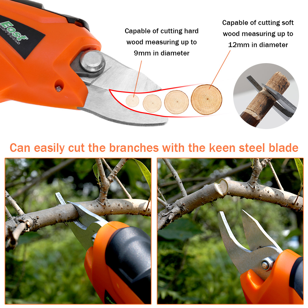 Tools : Electric Pruning Shear Rechargeable Home Garden Scissors Cordless Fruit Tree Branches Cutter Hedge Trimmer Lawn Mower for Grass
