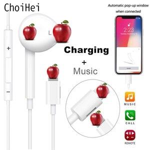Image 1 - Voor Apple Iphone 7 In Ear Stereo Hoofdtelefoon Met Microfoon Wired Bluetooth Oortelefoon Voor Iphone 8 7 Plus X Xr xs Max 11 Headset