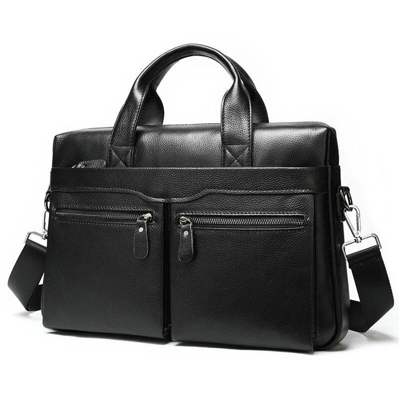 Men's Briefcase Leather Laptop Bag Men's 100% Genuine Leather Office Bag For Men Business Men's Bag For Document Tote