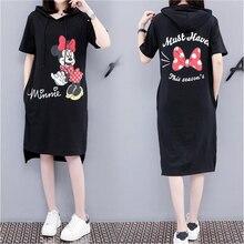 2019 Women Mickey Minnie Summer Hooded Dresses Fashion Loose Casual Black Plus Size Dress M-4XL With Pocket цены