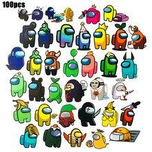 100 unidades/pacote adesivos jogo entre nós crianças presente dos desenhos animados graffiti adesivos para skate telefone móvel entre nós adesivos brinquedos