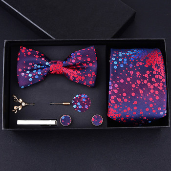 Hi-q Man Tie Set 8CM krawaty krawaty Corbatas Hanky Cuff-link spinka do krawata 7 sztuk zestawy Red Groom Groomsmen krawaty prezent ślubny tanie i dobre opinie EASY H Moda SILK Dla dorosłych Szyi krawat zestaw Jeden rozmiar H7C8001 Drukuj