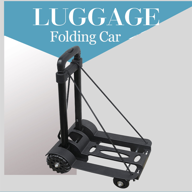 75KG Aluminum Alloy Car Folding Luggage Cart Portable Travel Trailer Household Luggage Cart Shopping Trolley Quick Folding