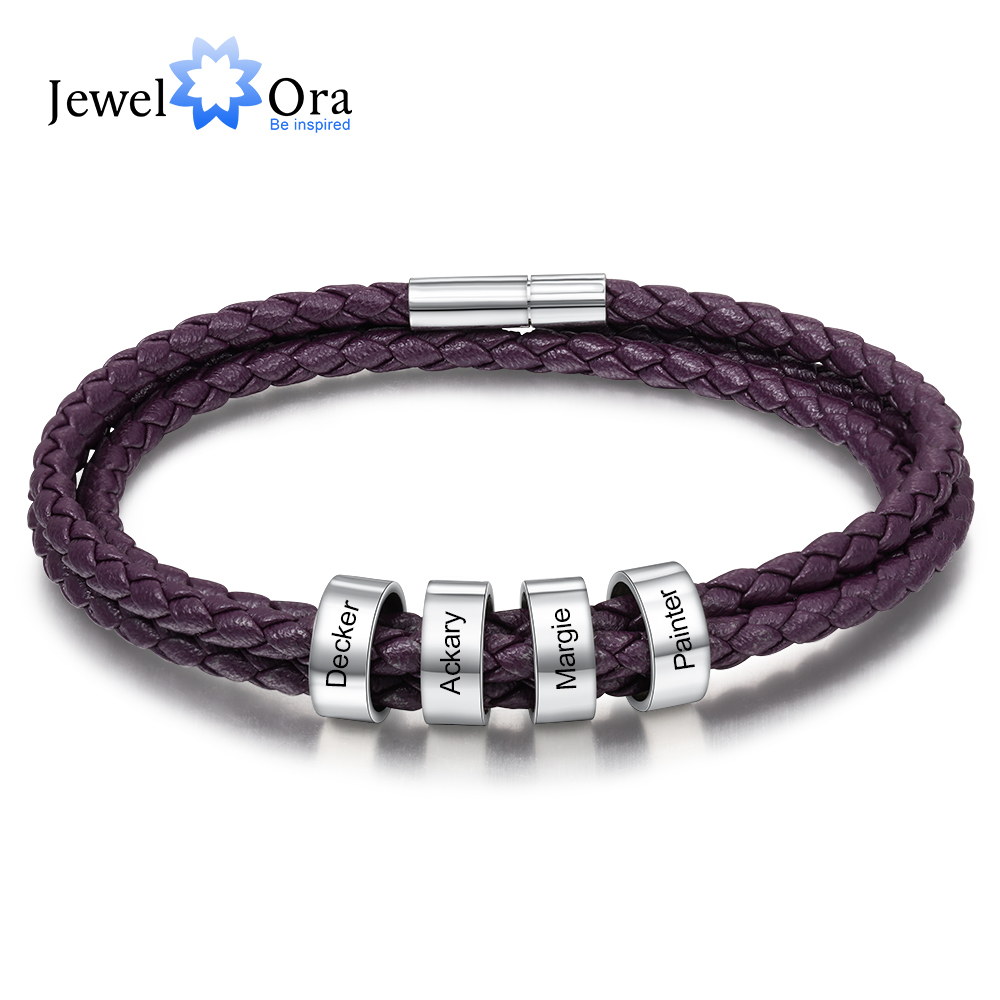 Personalized Engraving Name Bracelet With 4 Beads Custom Multicolored Leather Bracelets For Men Women Stainless Steel Jewelry