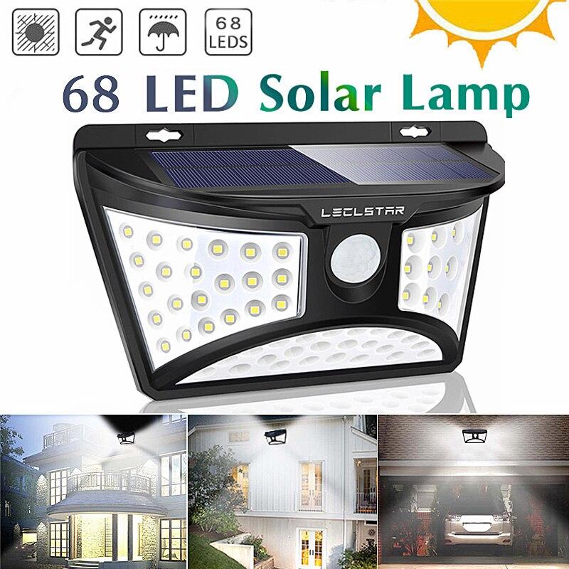 Super Bright 68 LED Solar Powered Motion Sensor Lights Outdoor Street Wall Emergency Solar Lamp For Garden Decoration Waterproof