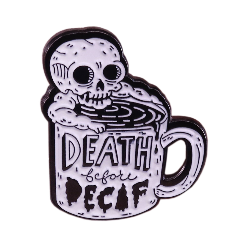 Death before decaf enamel pin coffee cup brooch skeleton badge horror art jewelry coffee addict pins caffeine lover gift image