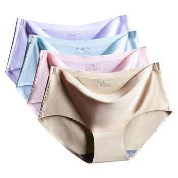 Factory Direct Large size Viscose Fiber Seamless Underwear Women's Sexy Mid-Waist Plus-sized Women's Panties Summer New 1
