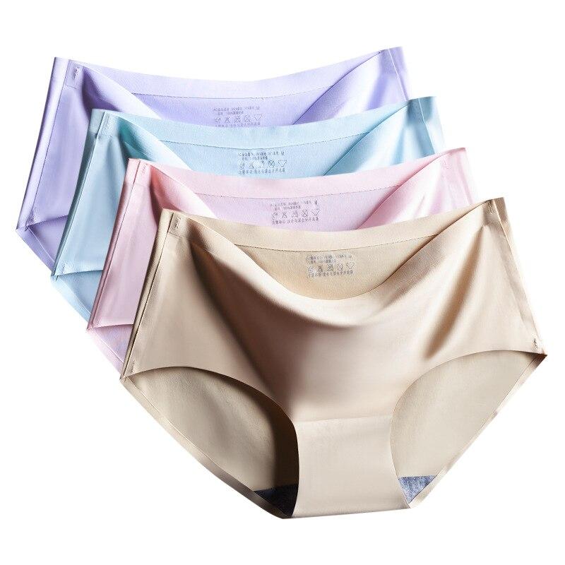 Factory Direct Large size Viscose Fiber Seamless Underwear Women's Sexy Mid-Waist Plus-sized Women's Panties Summer New