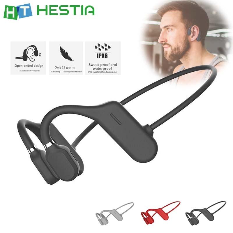 Bone Conduction Headphones Bluetooth Wireless Waterproof Comfortable Wear Open Ear Hook Light Weight Not In-ear Sports Earphones