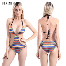 New Colorful Stripped Swimsuit Women One Piece Swimsuit Sexy Deep V Swimwear S-XL Girl Backless Halter Bathing Suit One Piece