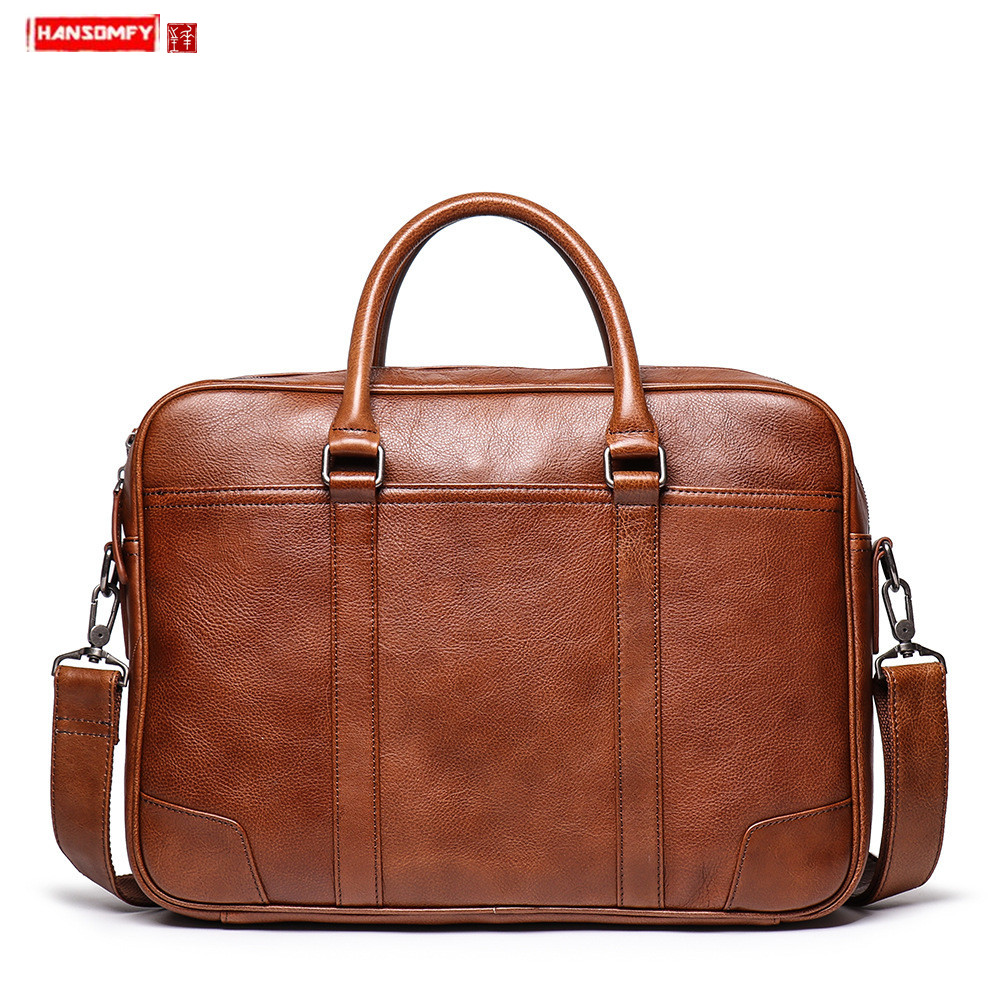 Europe And America New Men's Leather Handbag Genuine Leather Briefcase Large Capacity Computer Bag Cowhide Crossbody Bag 15.6