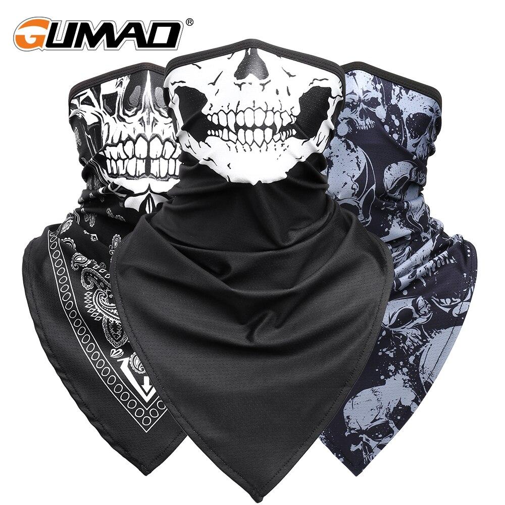 Breathable Sport Skull Face Bandana Half Printed Mask Ski Reusable Tube Scarf Fishing Hiking Running Neck Gaiter Cover Men Women