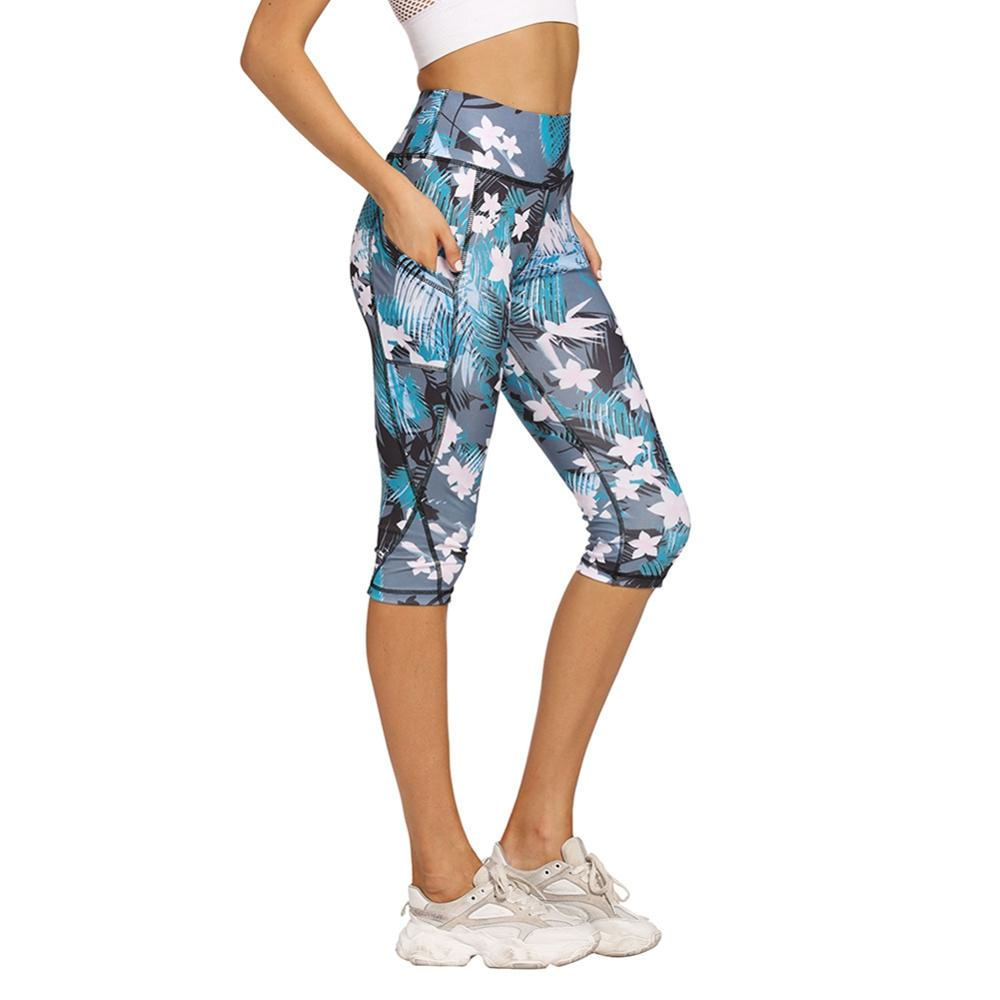 Yoga Pants With Pockets High Waist Leggings Printed Running Fitness Women Workout Pants Sliming Capris Tights Women Sweatpants