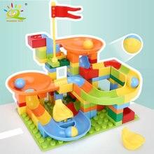 Huiqibao игрушки 110 шт Большой Размер Мраморные гонки строительные
