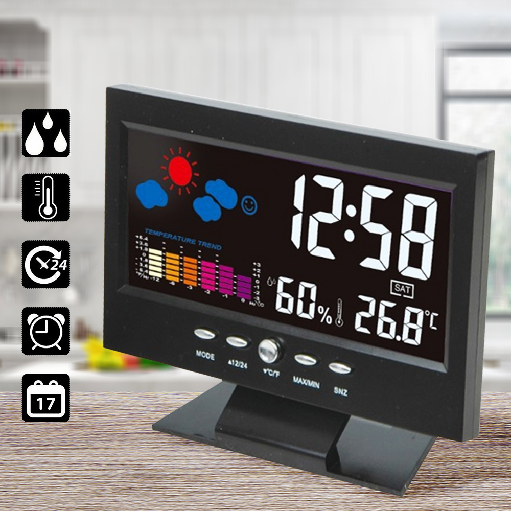 Indoor Thermometer Hygrometer Alarm LCD Digital Clock Calendar Weather Station Desk Clock Temperature Humidity Meter Barometer