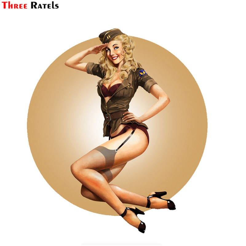 Three Ratels FTC-657# 13X11.5CM Vantage United States Air Force Pin Up Girl Decal Car Styling Sticker Waterproof Car Stickers