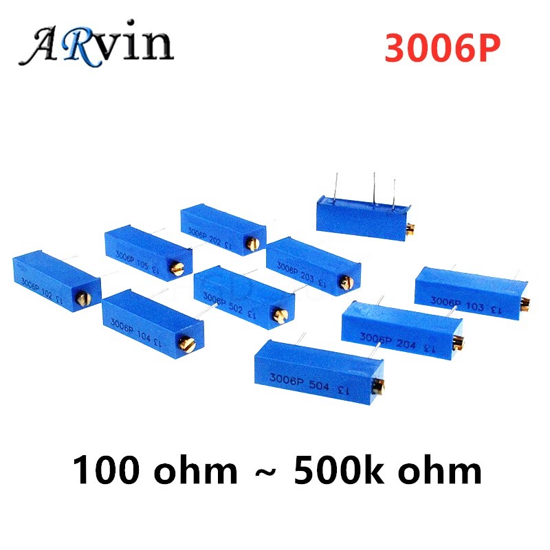 10PCS 3006P 1K 2K 5K 10K 20K 50K 100K 200K 500K 1M 100R 200R 500R potenziometro Trimmer