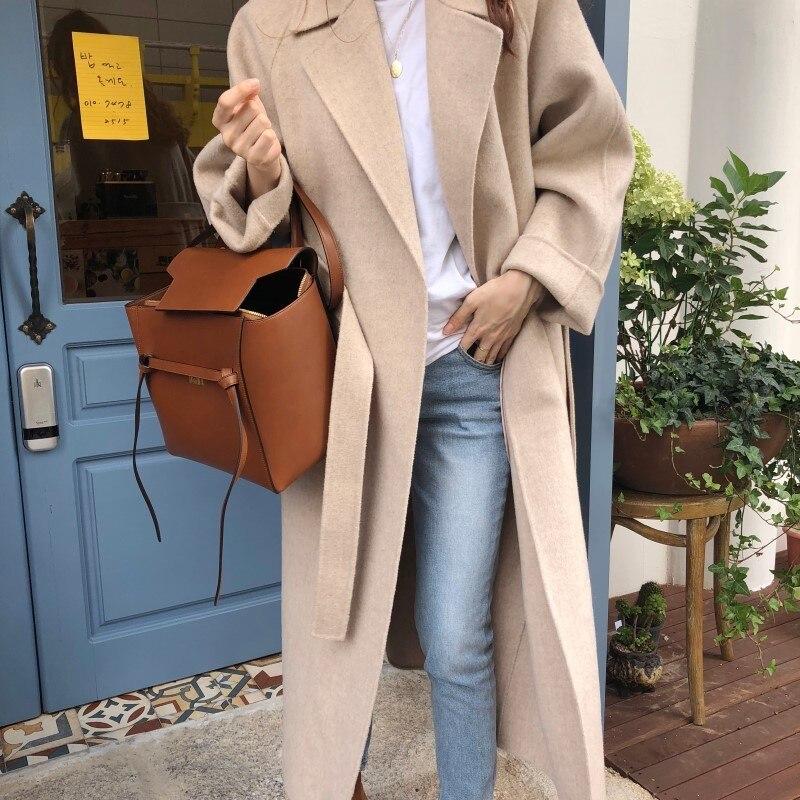 19 Winter Oversize Long Trench Coat Women Cashmere Coat Korean Lady Windbreaker Outwear Streetwear 61