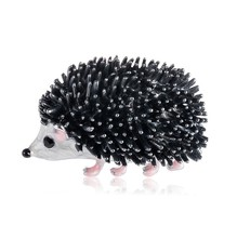 лучшая цена Cute Enamel Black Hedgehog Brooches Porcupine Pin Kids Coat Bag Badges Jewelry Animal Brooch