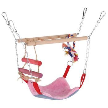 Bird Wood Climb Ladder Warm Hammock Hanging Bed for Parrot Budgie Parakeet Cockatiel Conure Lovebird Cage Perch 2