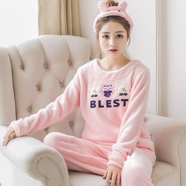 Pajamas For Women Sets  Autumn Winter Sleepwear Thick Warm Coral Flannel Nightgown Female Cartoon Animal Womens Pajamas