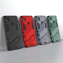 Xiaomi Redmi için 9C kılıfı Punk zırh telefon tutucu kauçuk kamera koruyucu kılıf Redmi için not 9T kapak xiaomi Redmi not 9S