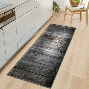 Hot 1 PCS Anti-Slip Kitchen Carpet Welcome Doormat Wood Grain Printed Floor Mat Hallway Rug Door Mats Outdoor Decoration