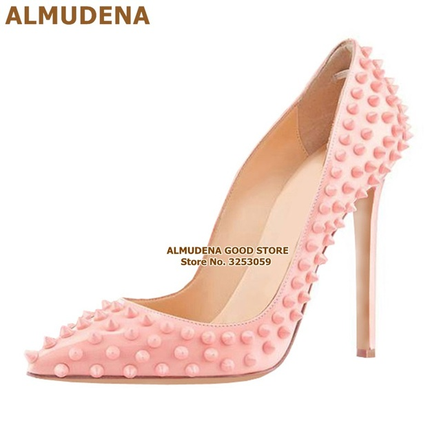 ALMUDENA 8 10 12cm Stiletto Heels Rivets Pointed Toe Shoes Red Pink Black Studded Wedding Shoes Full Spikes Dress Pumps Size45 1