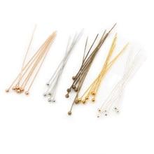 200 Stks/partij 16 20 25 30 40 45 50Mm Zilver Kleur Metal Nietstiften Voor Diy Sieraden Maken head Pins Bevindingen Dia 0.5Mm Levert
