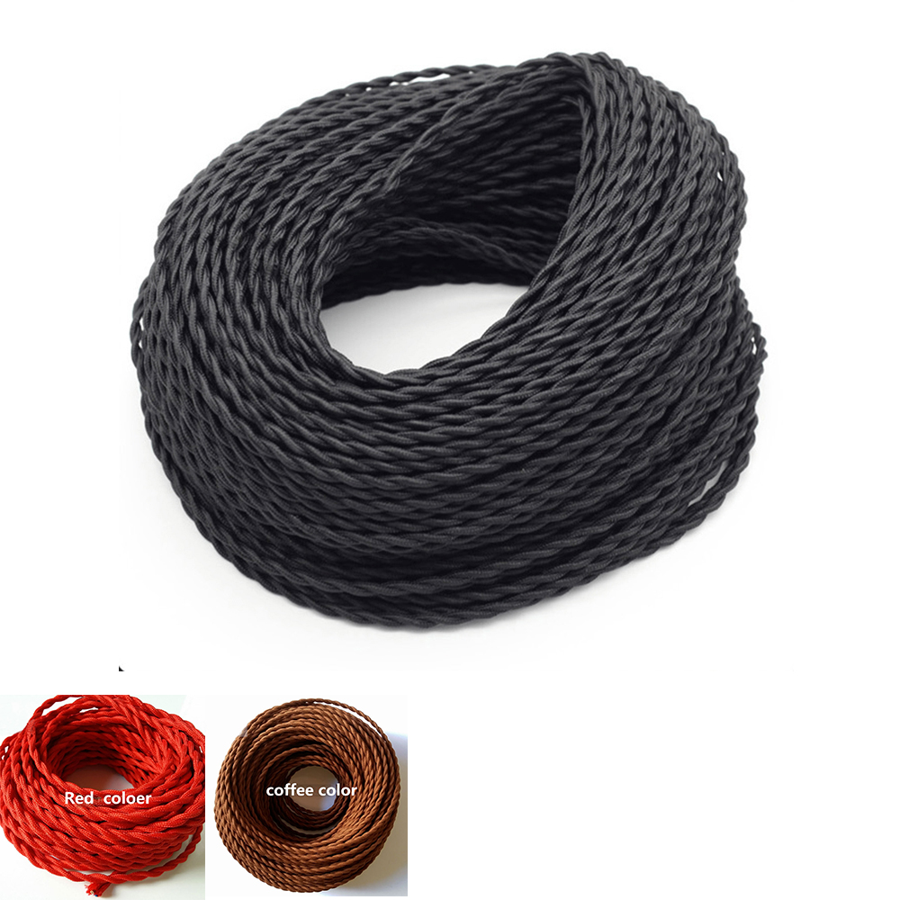 2*<font><b>0.75</b></font> Core Wires the wire <font><b>cable</b></font> Braided,Twisted Textile <font><b>Cable</b></font>,for family Restaurant decoration image