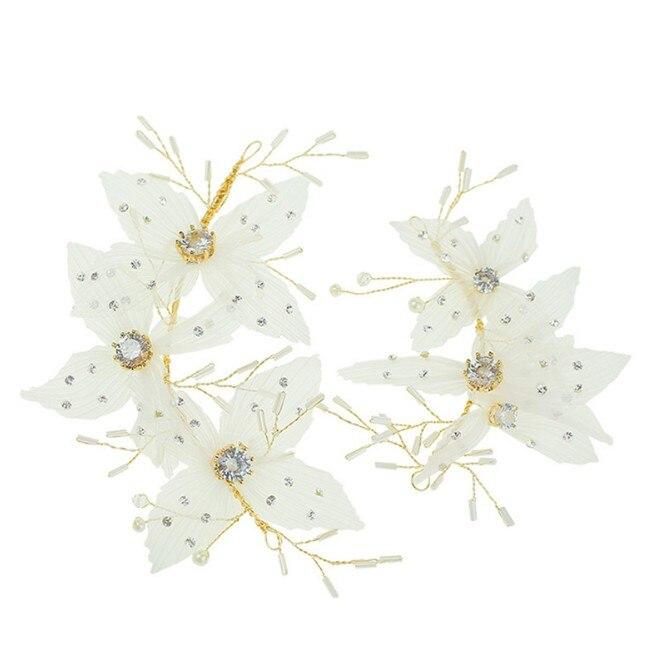 2 шт. женские белые цветочные платья для волос для невесты, свадебные вечерние украшения с жемчугом, аксессуары для волос ручной работы, свад...
