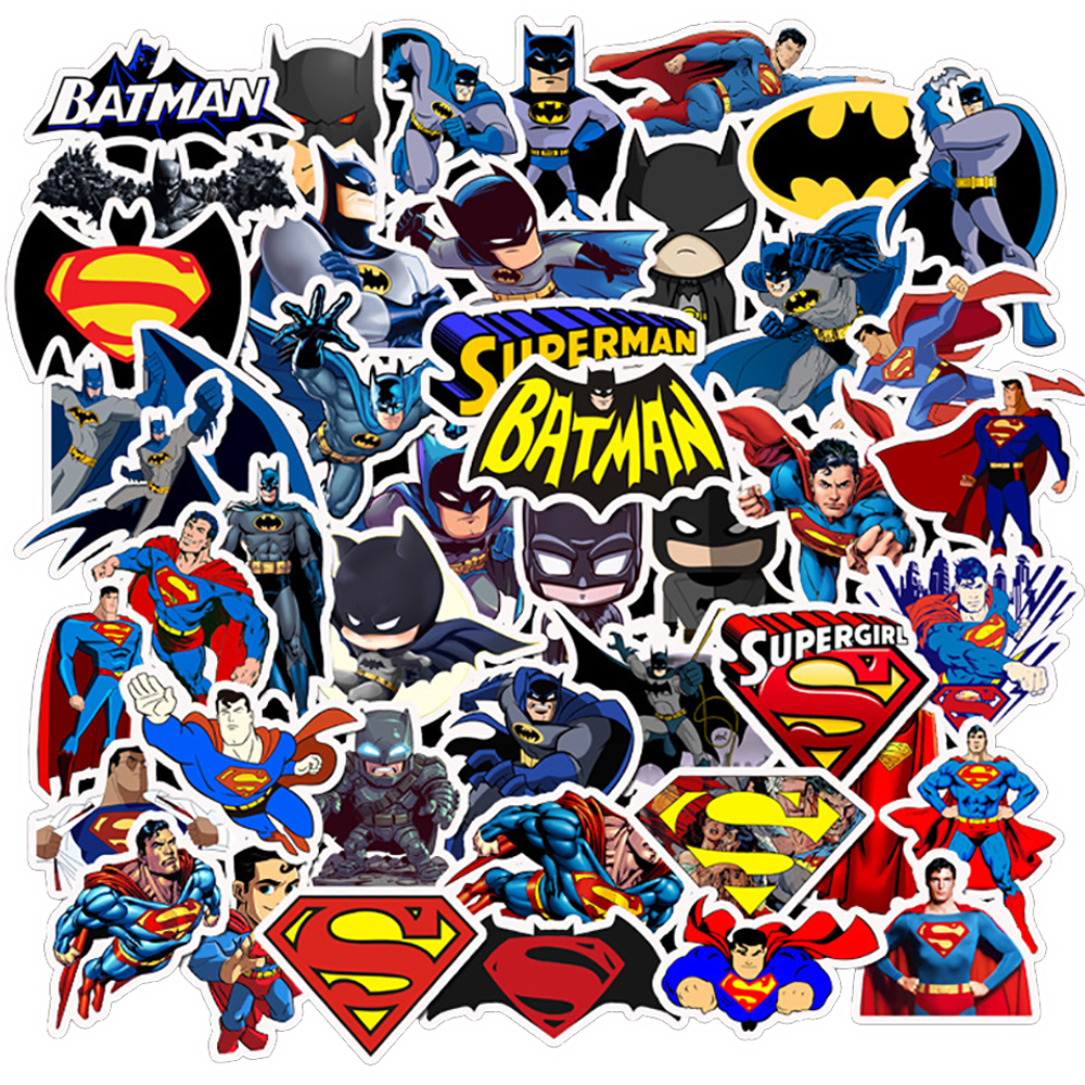 45PCS Movie Batman Superman Stickers DIY Phone Snowboard Laptop Luggage Fridge Guitar Graffiti Waterproof Joke Classic Stickers