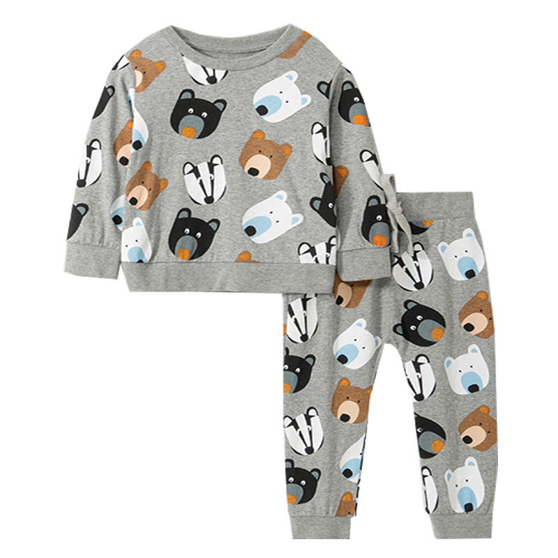 Jumping Meters Animals Print Boys Girls Clothing Sets Fashion Children Clothes Cotton Hot Top + Bottom Kids Outfits