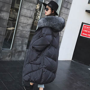 Women's Down Jacket 2019 Winter New Fashion Big Fur Collar Thick Loose Version Long Down Jacket