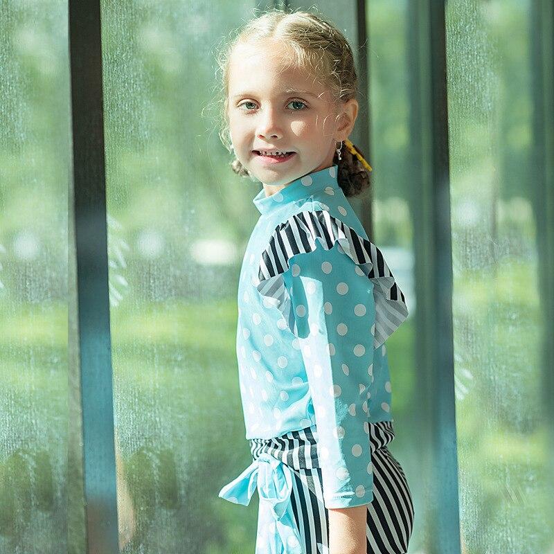 KID'S Swimwear Girls Korean-style Cute Polka Dot Stripes Sun-resistant Long Sleeve Split Type Swimwear Spa Resort Swimwear