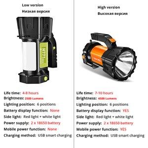 Image 5 - Super Heldere Led Zoeklicht Zaklamp Met Kant Licht 6 Verlichting Modi Aangedreven Door 18650 Batterij Voor Outdoor Camping