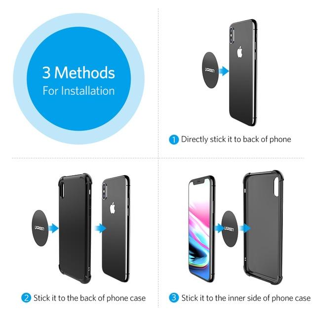 Ugreen Car Phone Holder Metal Plate Magnet Disk For iPhone x Magnetic Stand Support Smartphone Voiture Accessory Celular Holder 5