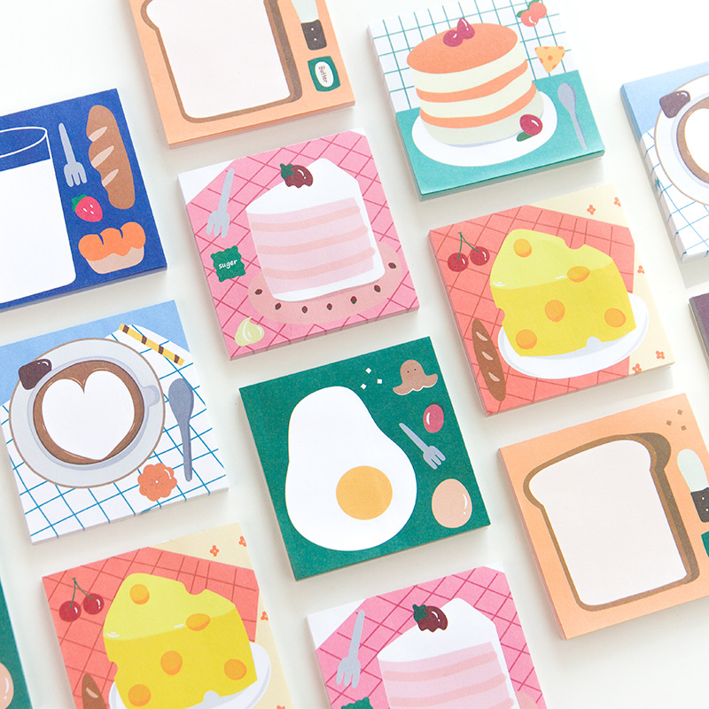 Bread Egg Cake Energy Supply Station Series Loose Leaf Memo Pad Notes Memo Notepad Bookmark Gift Stationery