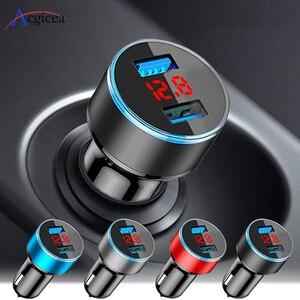 Мини USB Автомобильное зарядное устройство для iPhone XR 11, быстрое автомобильное зарядное устройство для телефона, быстрая зарядка, светодиодны...