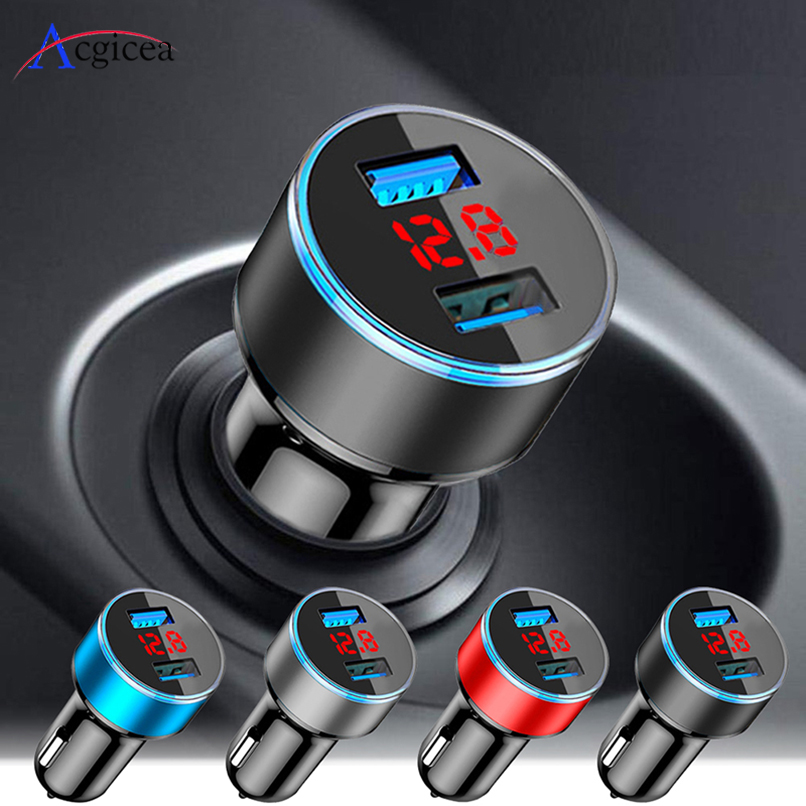 Mini USB Car Charger For iPhone XR 11 Fast Car Phone Chargers Fast Charging With LED Display 3.1A Dual USB Phone Charger in car(China)
