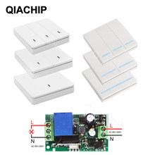 QIACHIP 433 Mhz Wireless RF Wall Panel Transmitter and AC 110V 220V 1 CH Remote Control Switch Relay Receiver Hall Bedroom Light(China)
